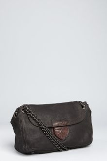 Prada Black Brushed Leather Chain Strap Shoulder Bag - Lyst