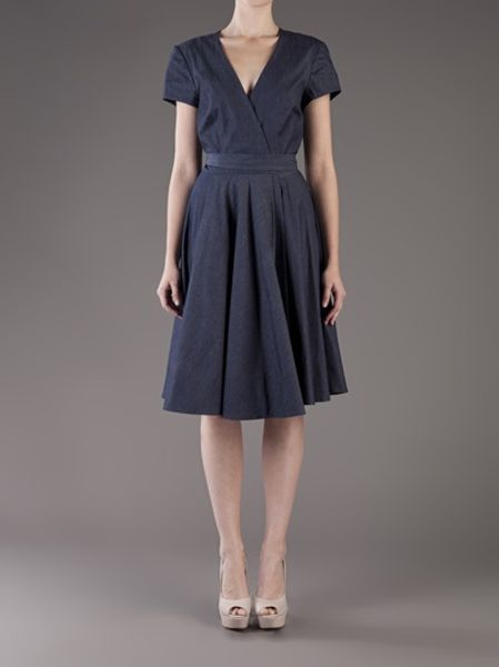 L Agence Denim Wrap Dress In Blue Denim Lyst