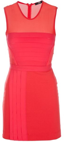 Markus Lupfer Colour Block Dress in Red