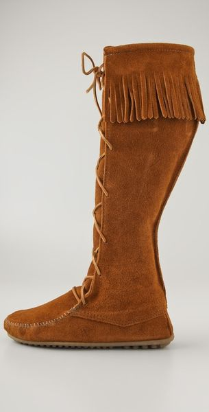 minnetonka lace up knee high boots in brown lyst
