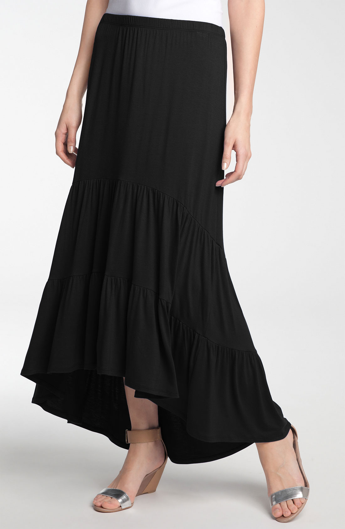 moon tiered knit maxi skirt with high low hem in