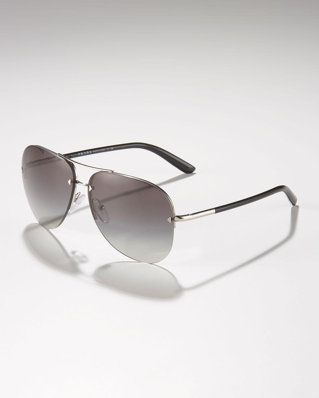 7ca0511f0c Prada Metal Sport Aviator Sunglasses in Metallic for Men - Lyst