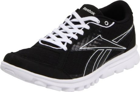 Black and White Reebok Running Shoes