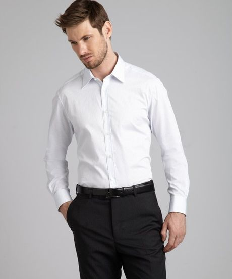 Zegna Pinstriped Cotton Point Collar Dress Shirt In White
