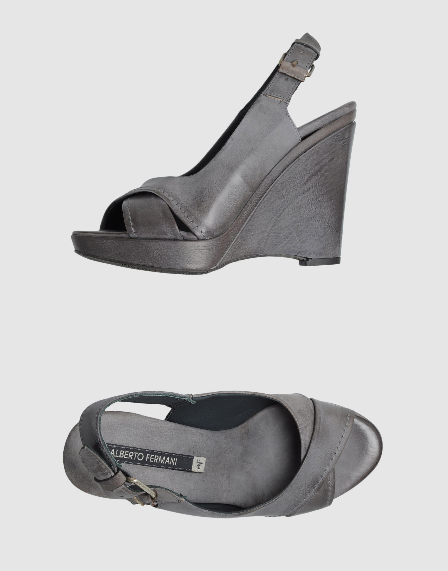 alberto fermani wedge sandals in gray grey lyst