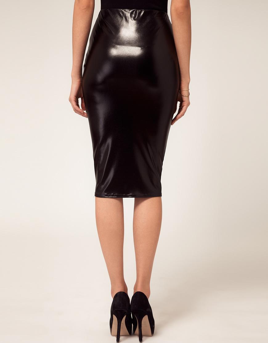 6d3a87a0c427 ASOS Asos Pencil Skirt in Wet Look in Black - Lyst