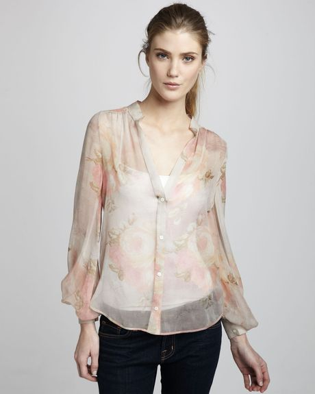 Haute Hippie Sheer Floralprint Blouse in Beige (suntan) - Lyst
