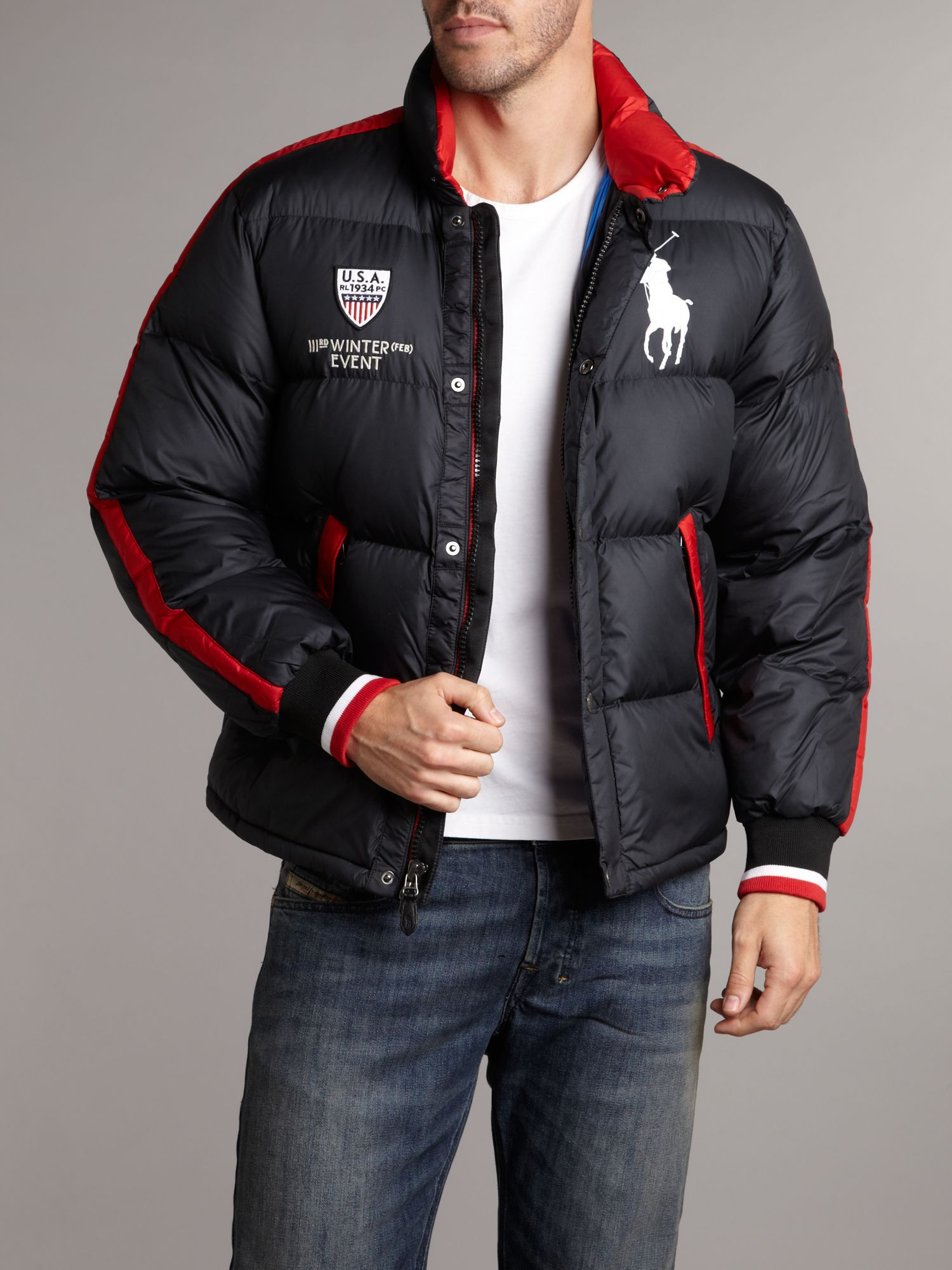 polo ralph lauren usa puffa jacket in black for men lyst. Black Bedroom Furniture Sets. Home Design Ideas