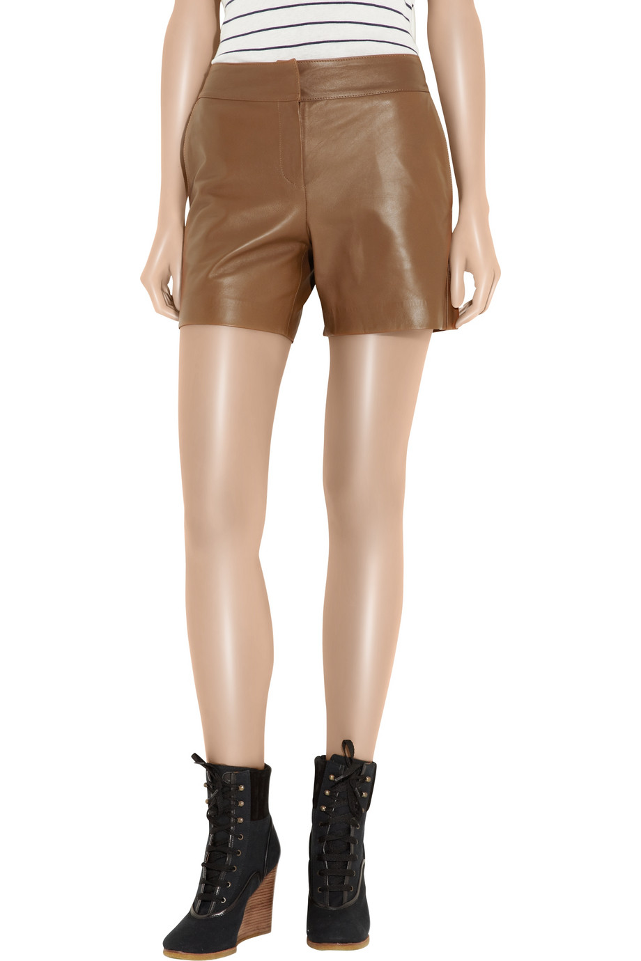cafd4a05 See By Chloé Brown Leather Shorts