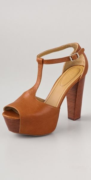 See By Chloé T Strap Platform Sandals in Brown (mustard) - Lyst