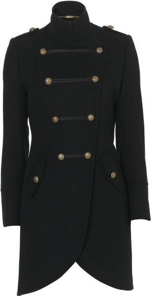Biba Militarystyle Wool Coat in Black - Lyst