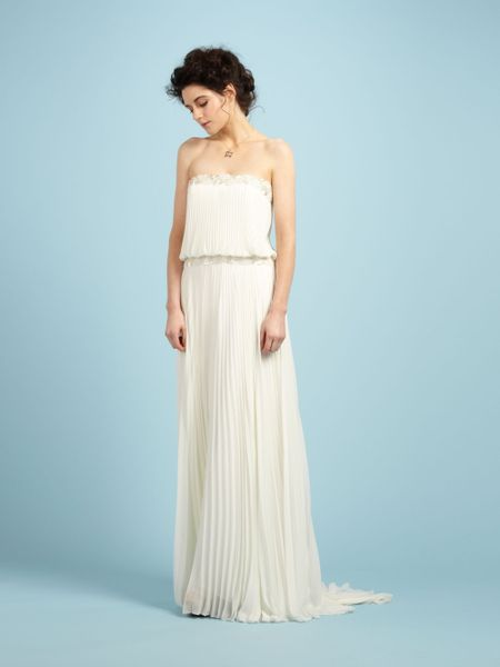 Biba Lily Sheer And Beaded Maxi Bridal Gown In Beige