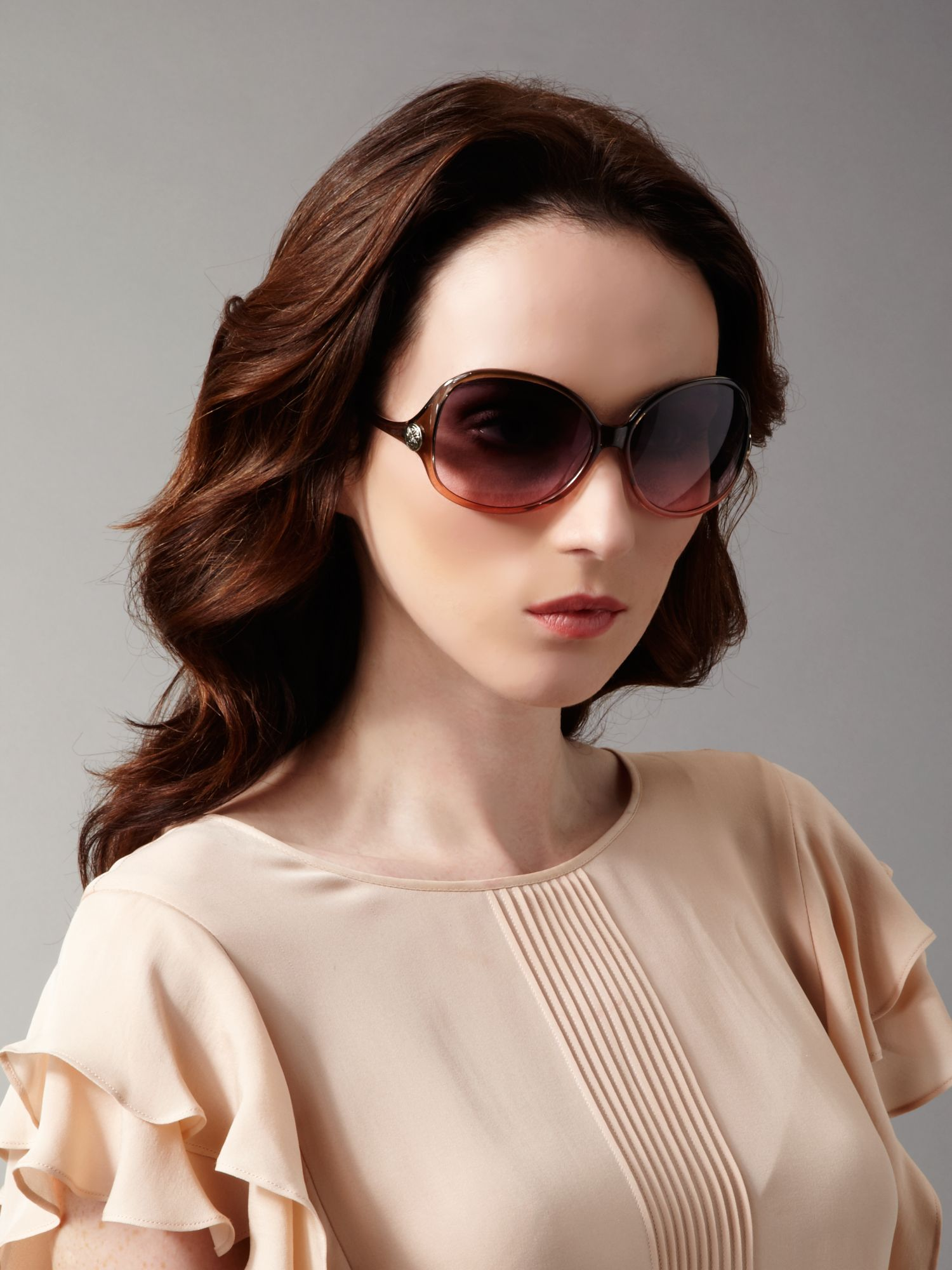 Biba Bianca Undulating Arm Sunglasses in Brown