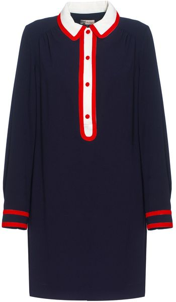 Boutique By Jaeger Contrast Trim Shirt Dress in Blue (navy) - Lyst