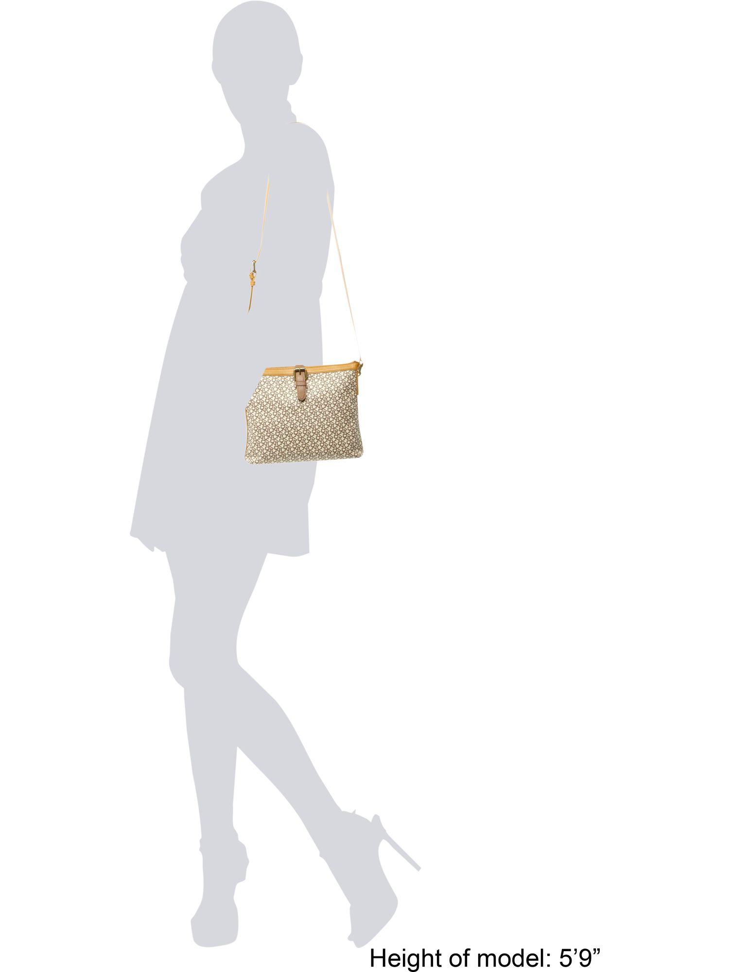 DKNY Coated Logo Crossbody Bag in Natural