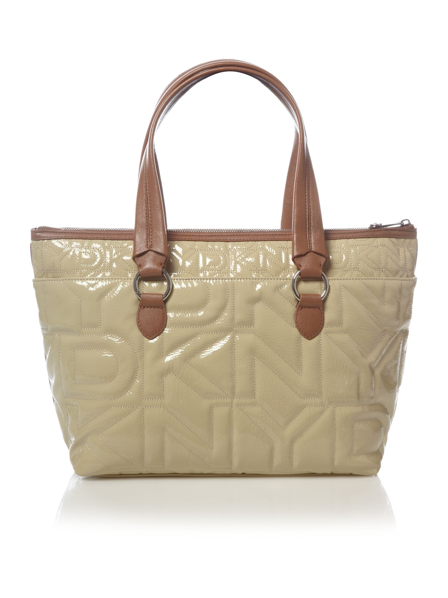 Dkny Quilted Logo Tote Bag In Natural Lyst
