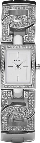 Dkny Rectangular Dial Bracelet Watch in Silver - Lyst