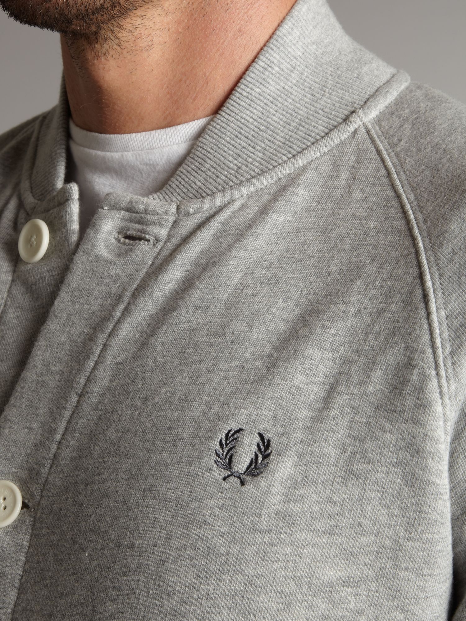 Fred Perry Sweat Bomber Jacket in Grey Marl (Grey) for Men