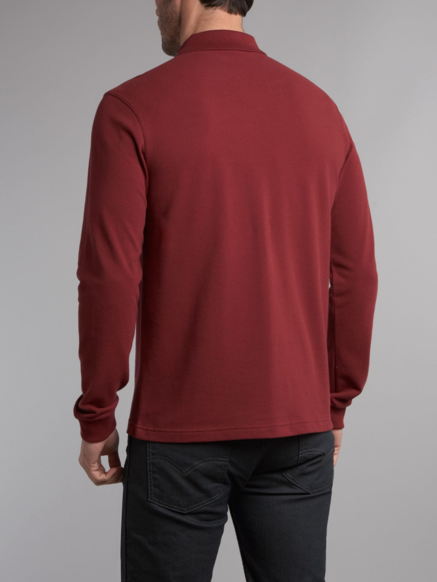 fred perry slim fit long sleeve polo shirt in red for men. Black Bedroom Furniture Sets. Home Design Ideas