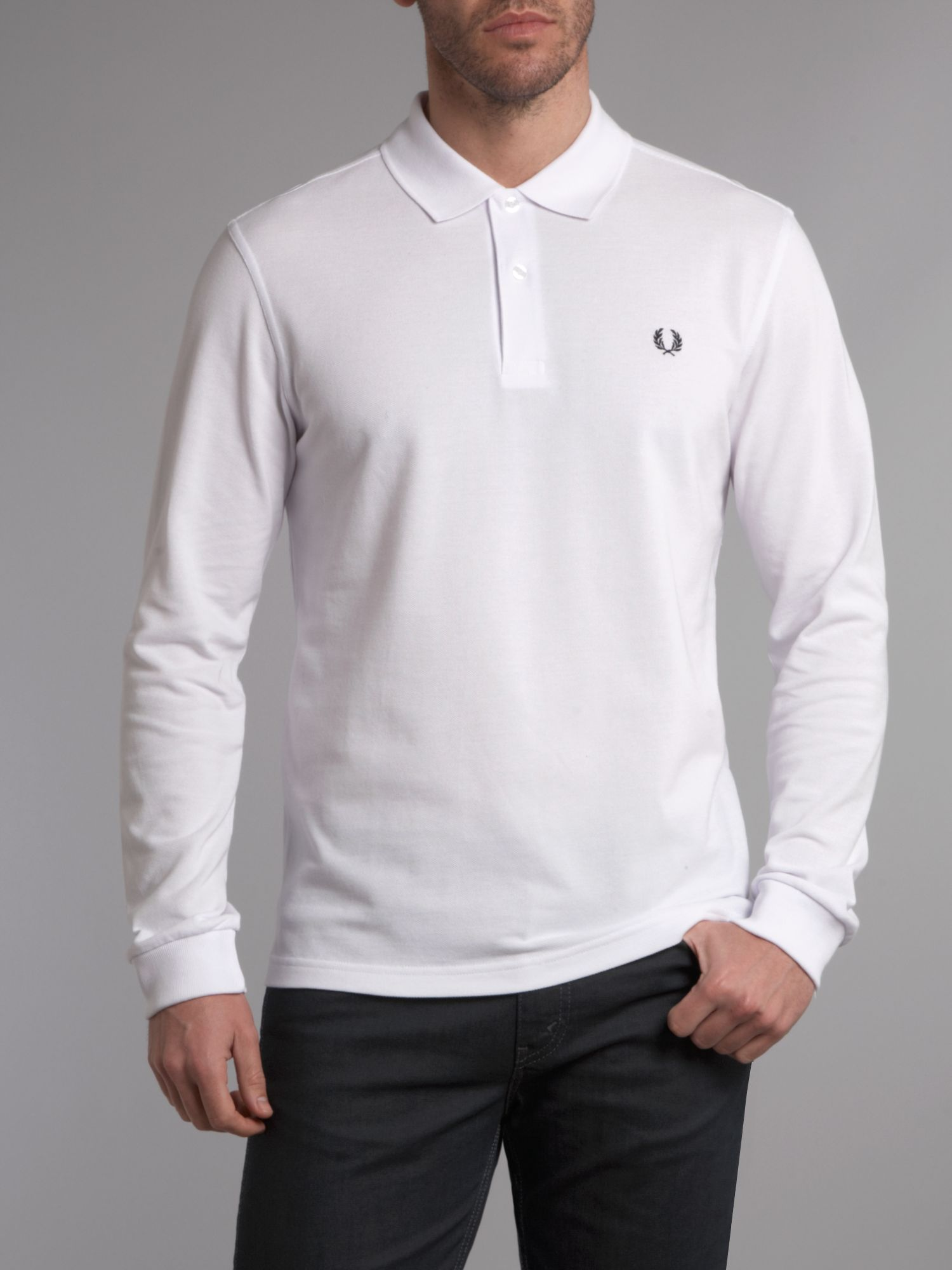 Fred perry slim fit long sleeve polo shirt in white for for White fitted polo shirts
