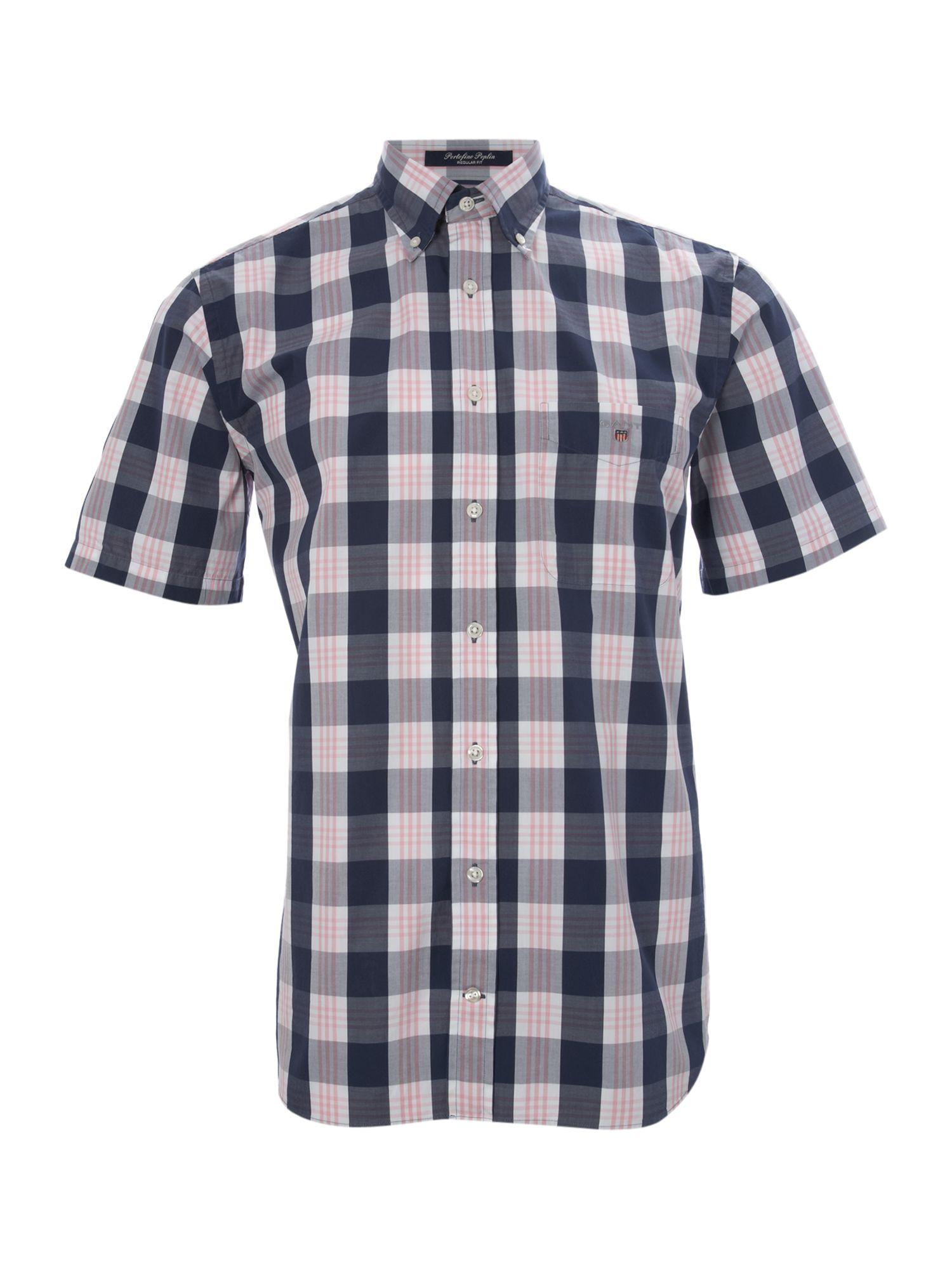Gant Large Block Check Shirt In Blue For Men Pink Lyst