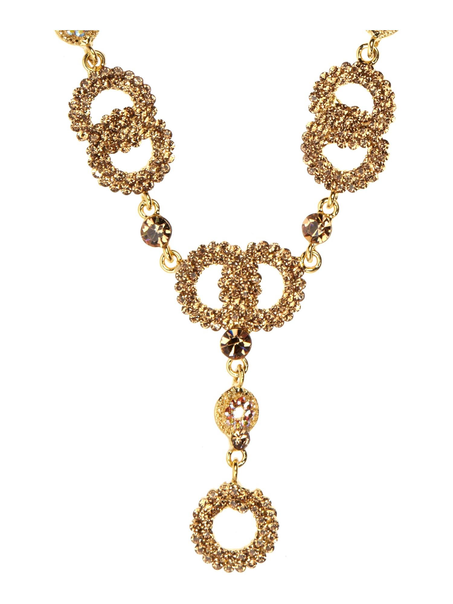 Gemini Necklace Set Made with Swarovski Crystal in Gold (Metallic)