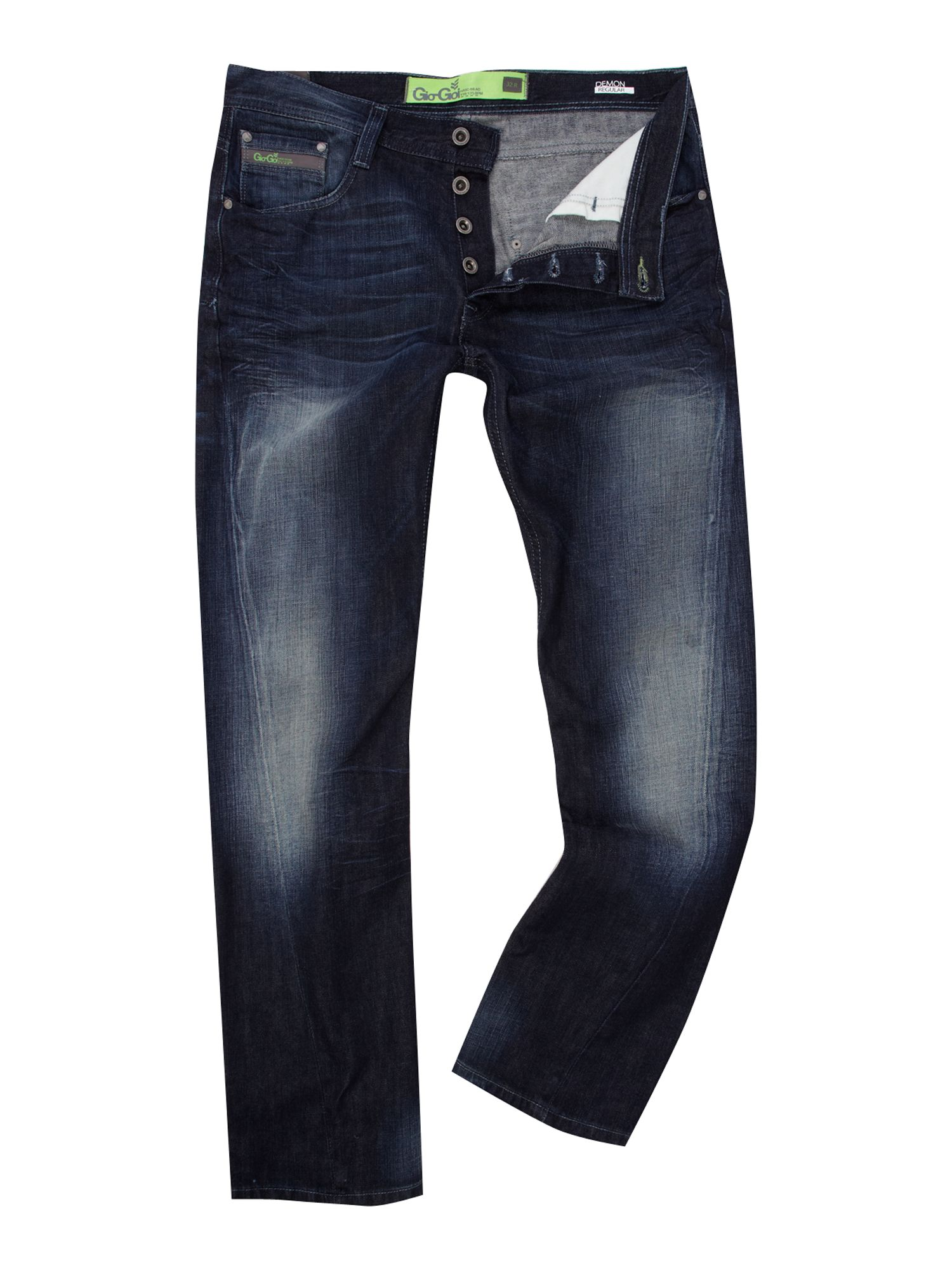 gio goi demon straight fit trance wash jeans in blue for. Black Bedroom Furniture Sets. Home Design Ideas
