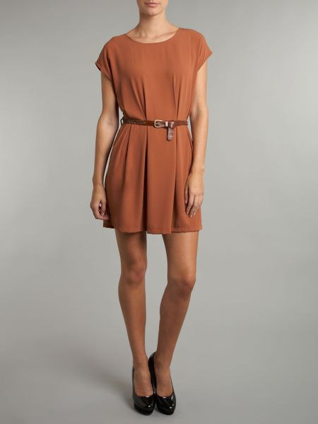 glamorous belted tunic dress in brown lyst