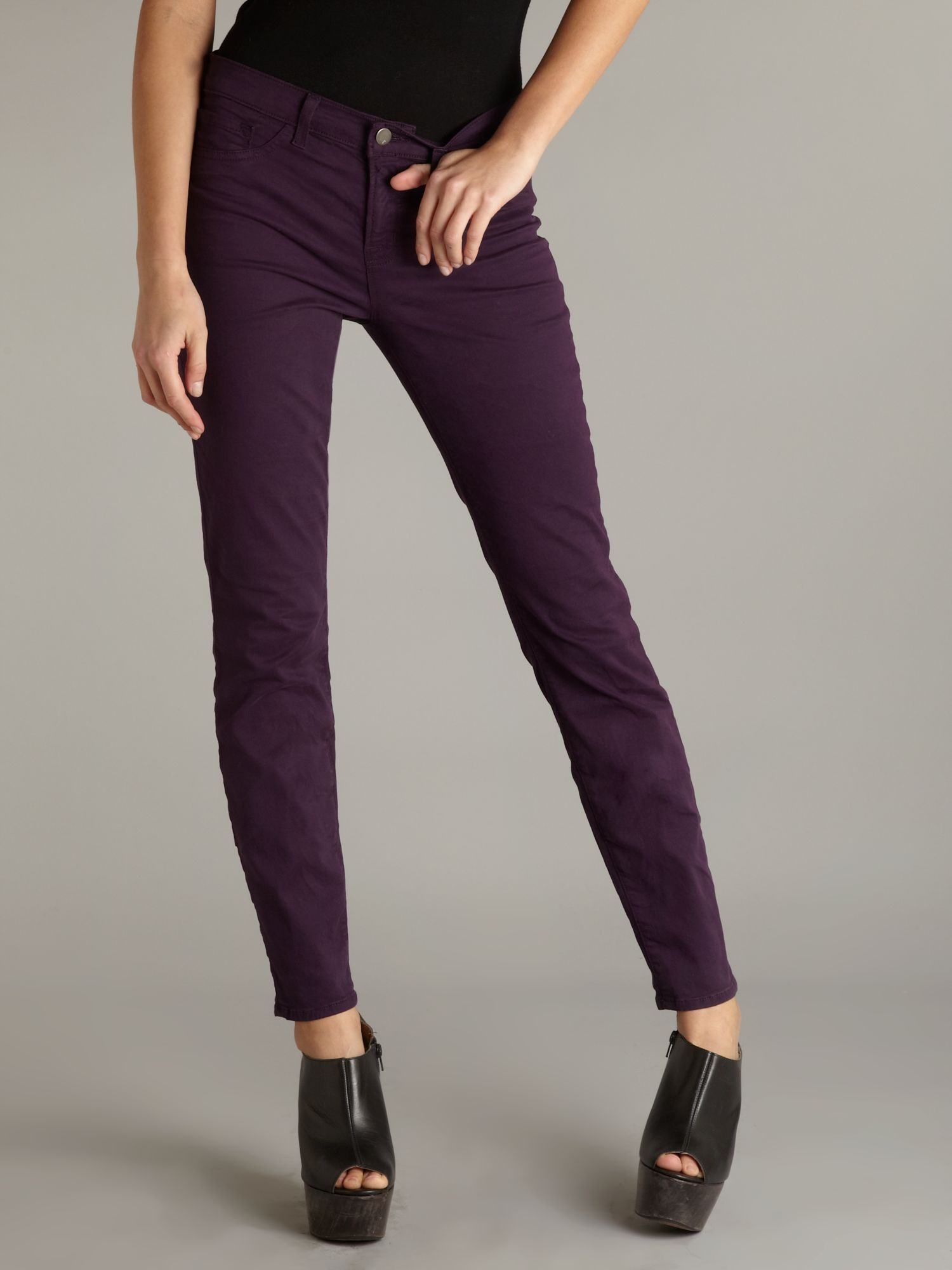 J Brand Low Rise Coloured Skinny Leg Twill Jeans in Purple