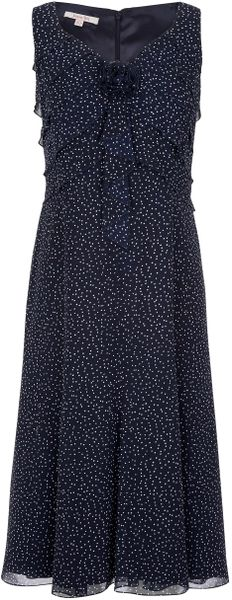 Jacques Vert Monique Spot Chiffon Dress in Blue (dark blue) - Lyst