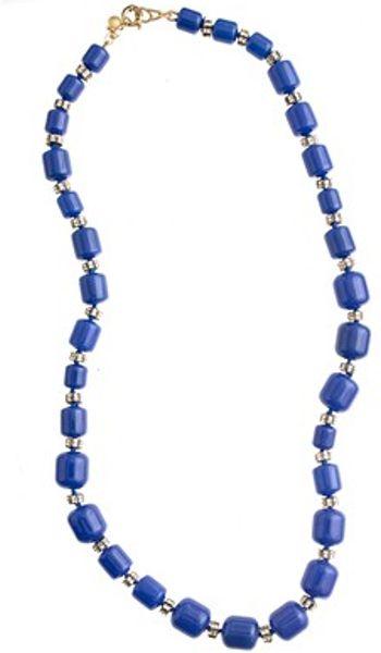 J Crew Monotone Beaded Necklace In Blue Brilliant Blue