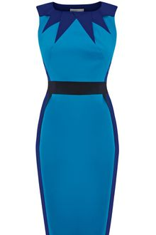 Karen Millen Graphic Colourblock Dress - Lyst