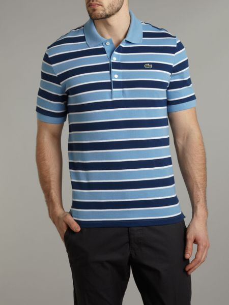Blue Striped Polo Shirt Striped Polo Shirt in Blue