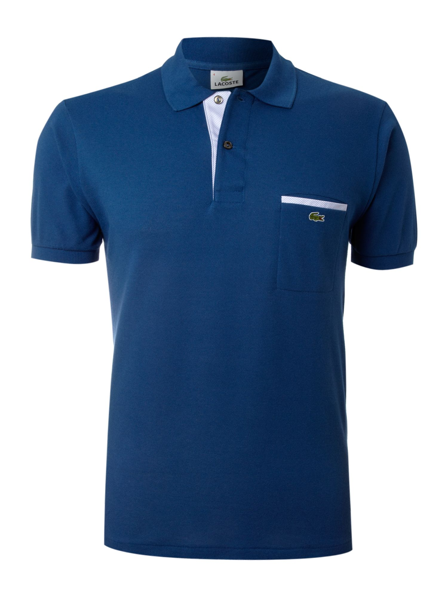 Lyst lacoste trim pocket polo shirt in blue for men for Polo t shirts with pocket online