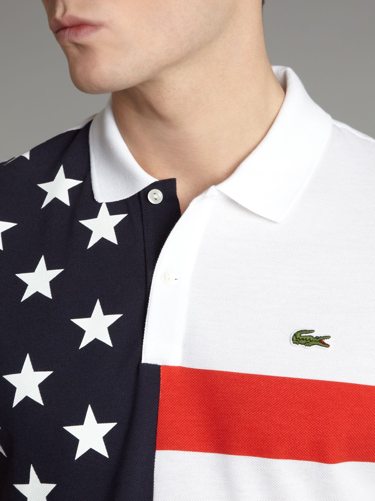 lacoste slim fit usa flag polo shirt in white for men lyst. Black Bedroom Furniture Sets. Home Design Ideas