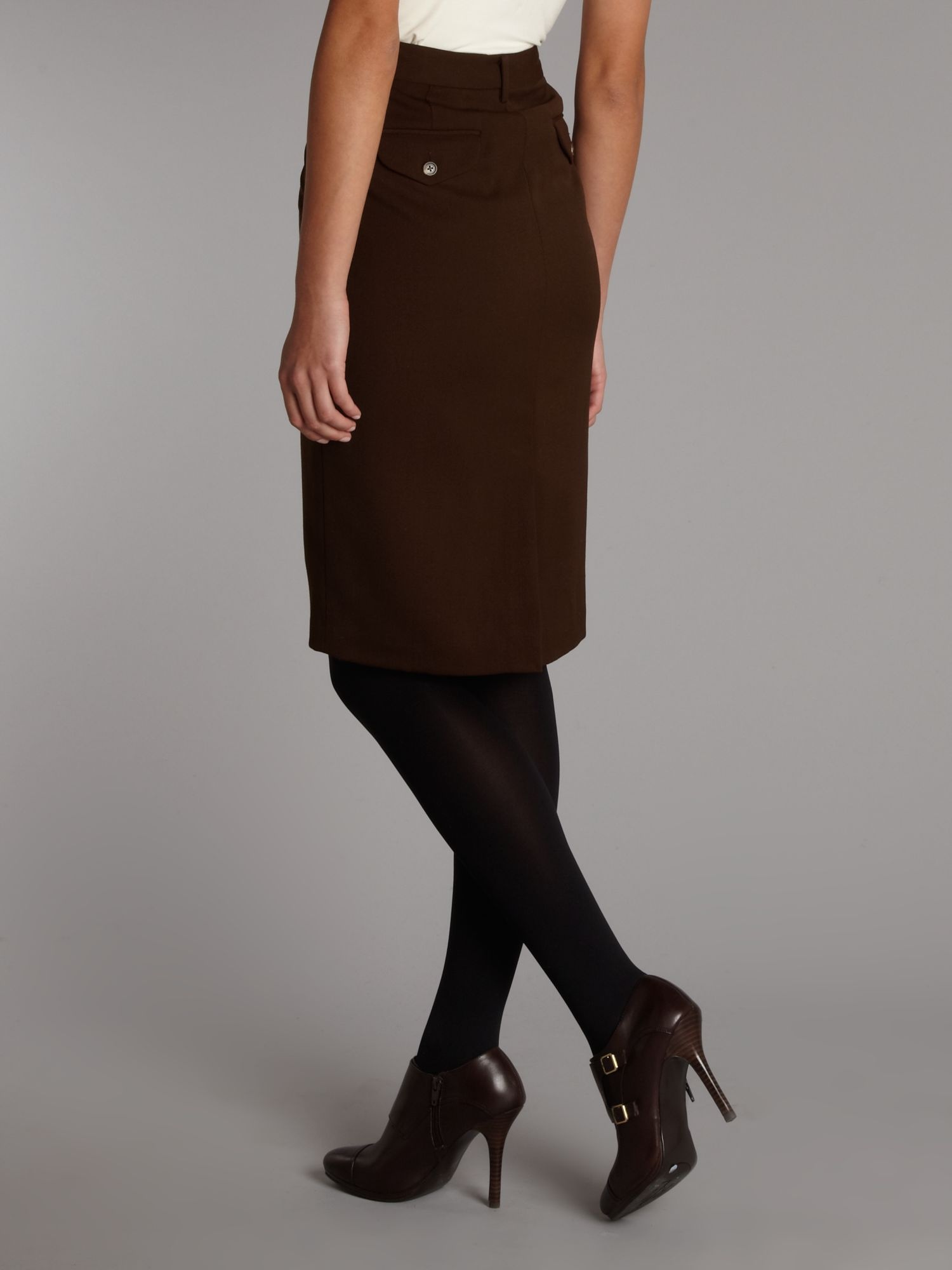 Lauren by ralph lauren High Waisted Wool Pencil Skirt in Brown | Lyst