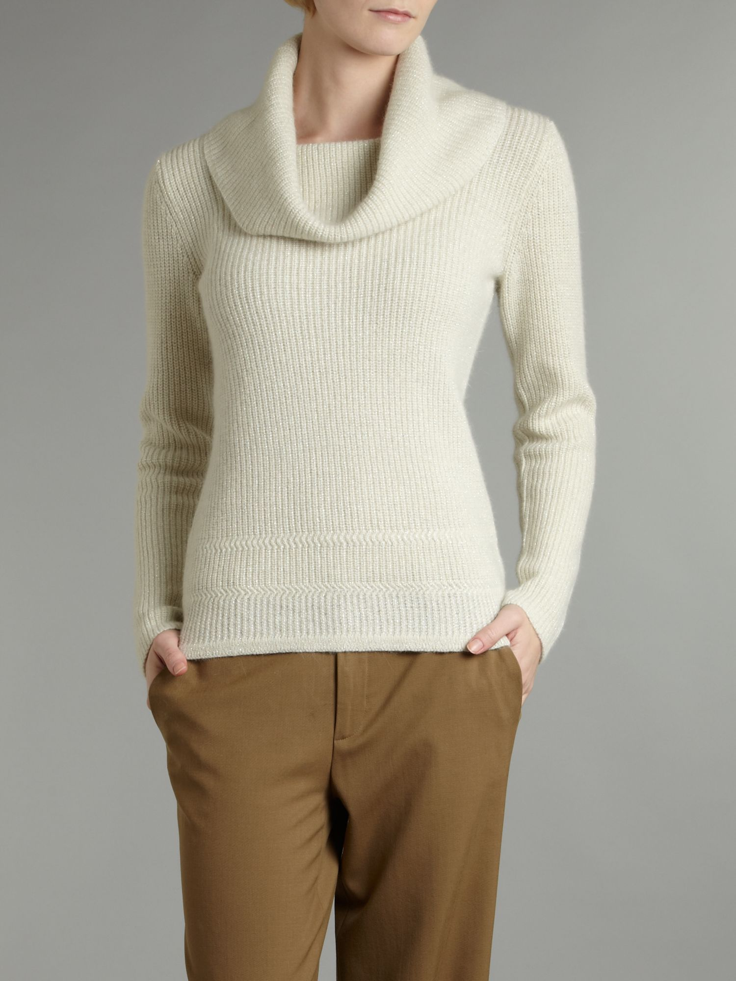 Lauren by ralph lauren Soft Cowl Neck Sweater in White | Lyst