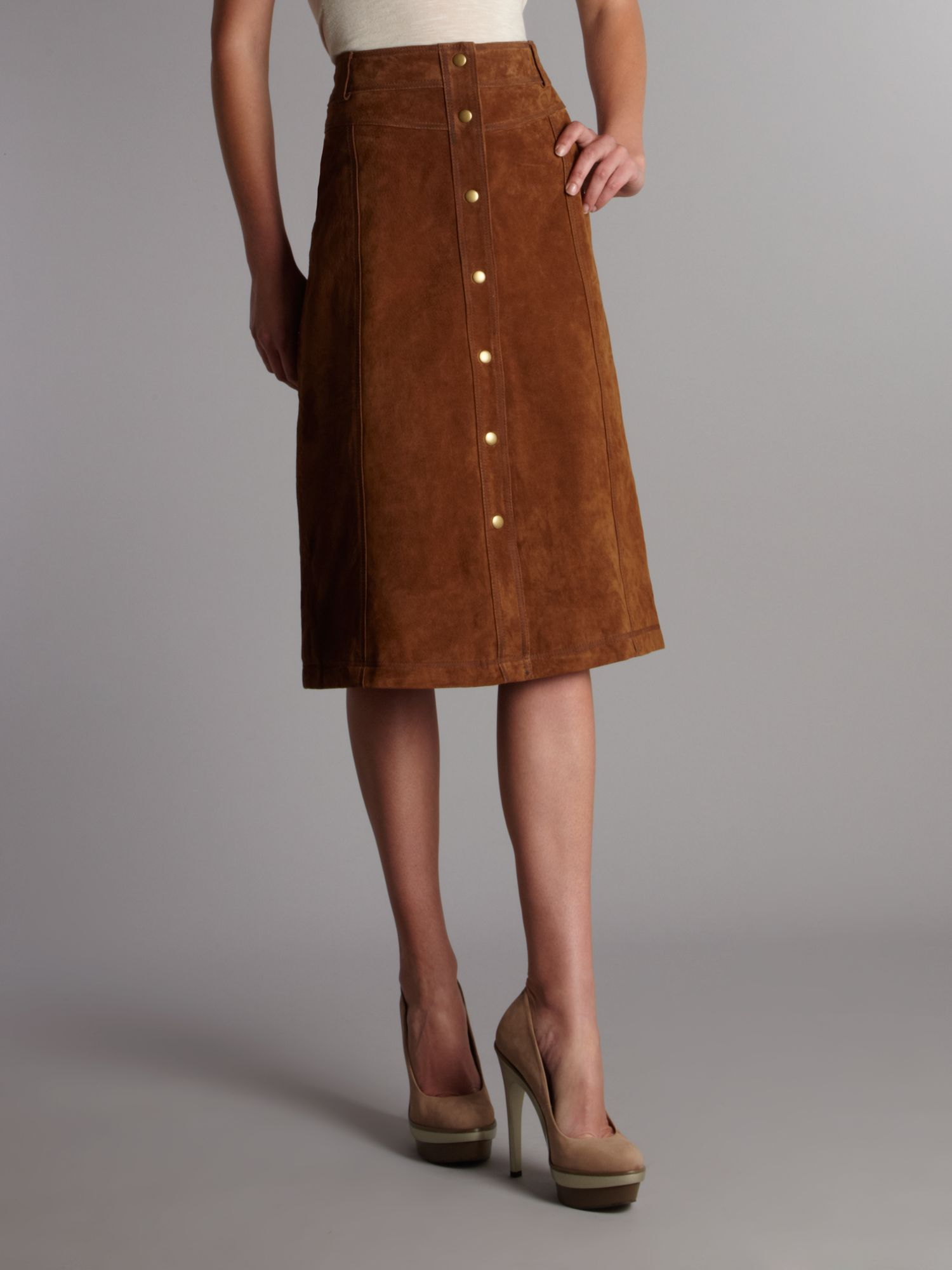 Linea weekend Suede Midi Skirt in Brown