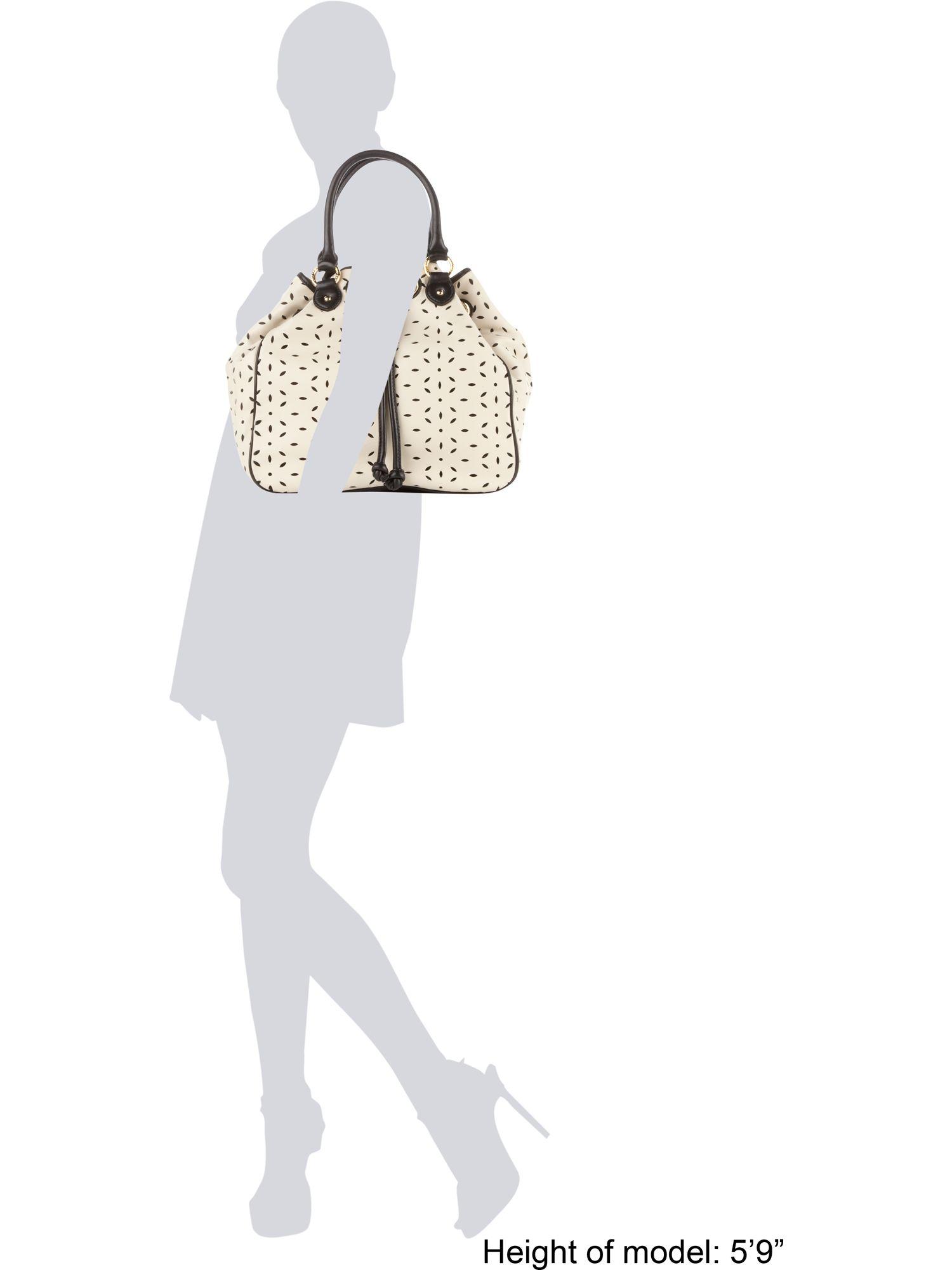 Lulu Guinness Large Jodie Drawstring Crossbody Bag in Cream (Natural)