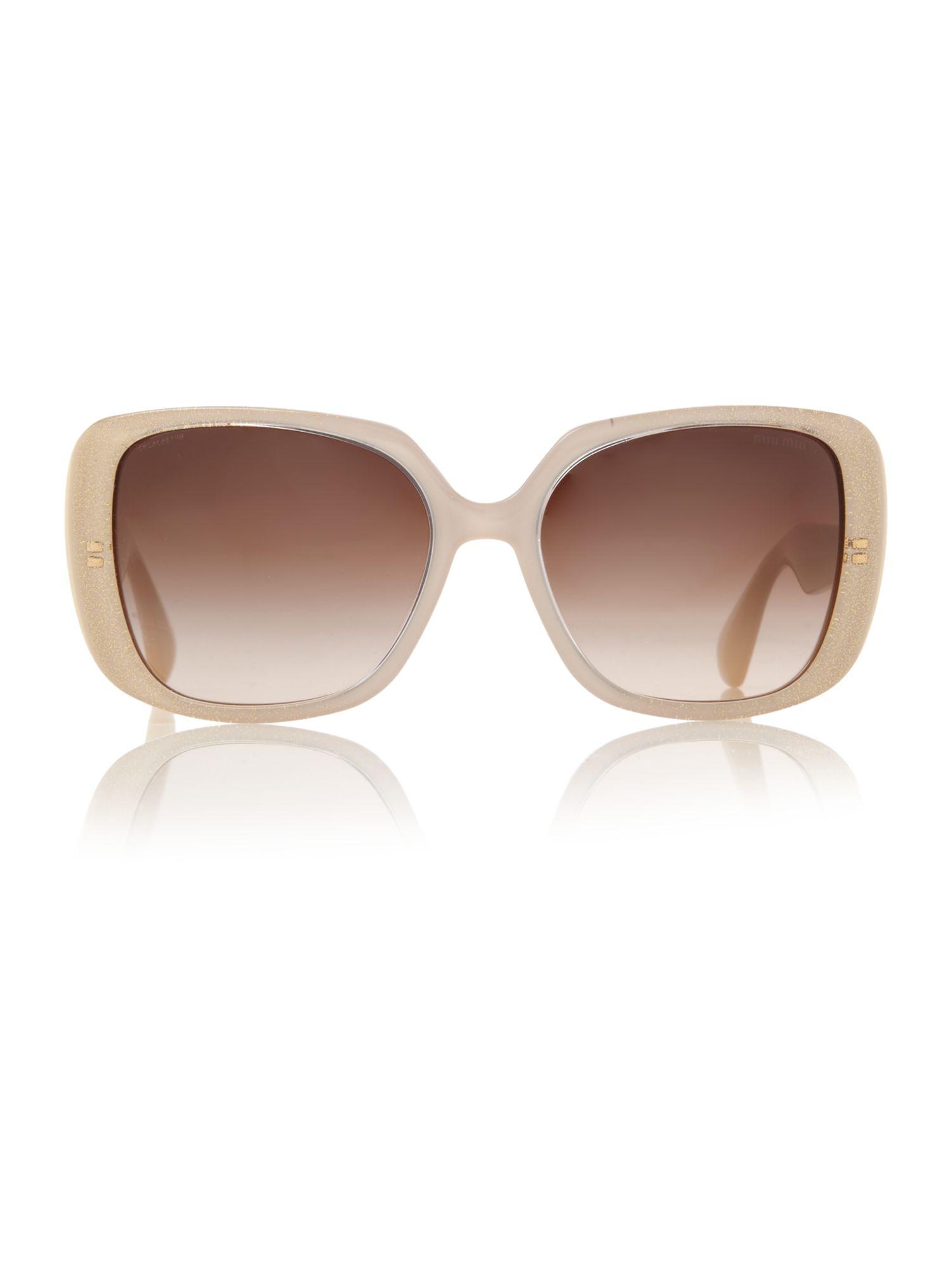 Miu Miu Ladies Mu 02ns Sunglasses in Tan (Natural)