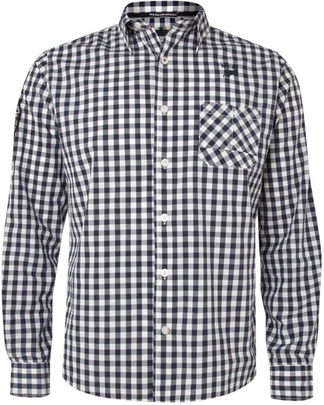 Nza large gingham shirt in blue for men navy lyst for Navy blue gingham shirt
