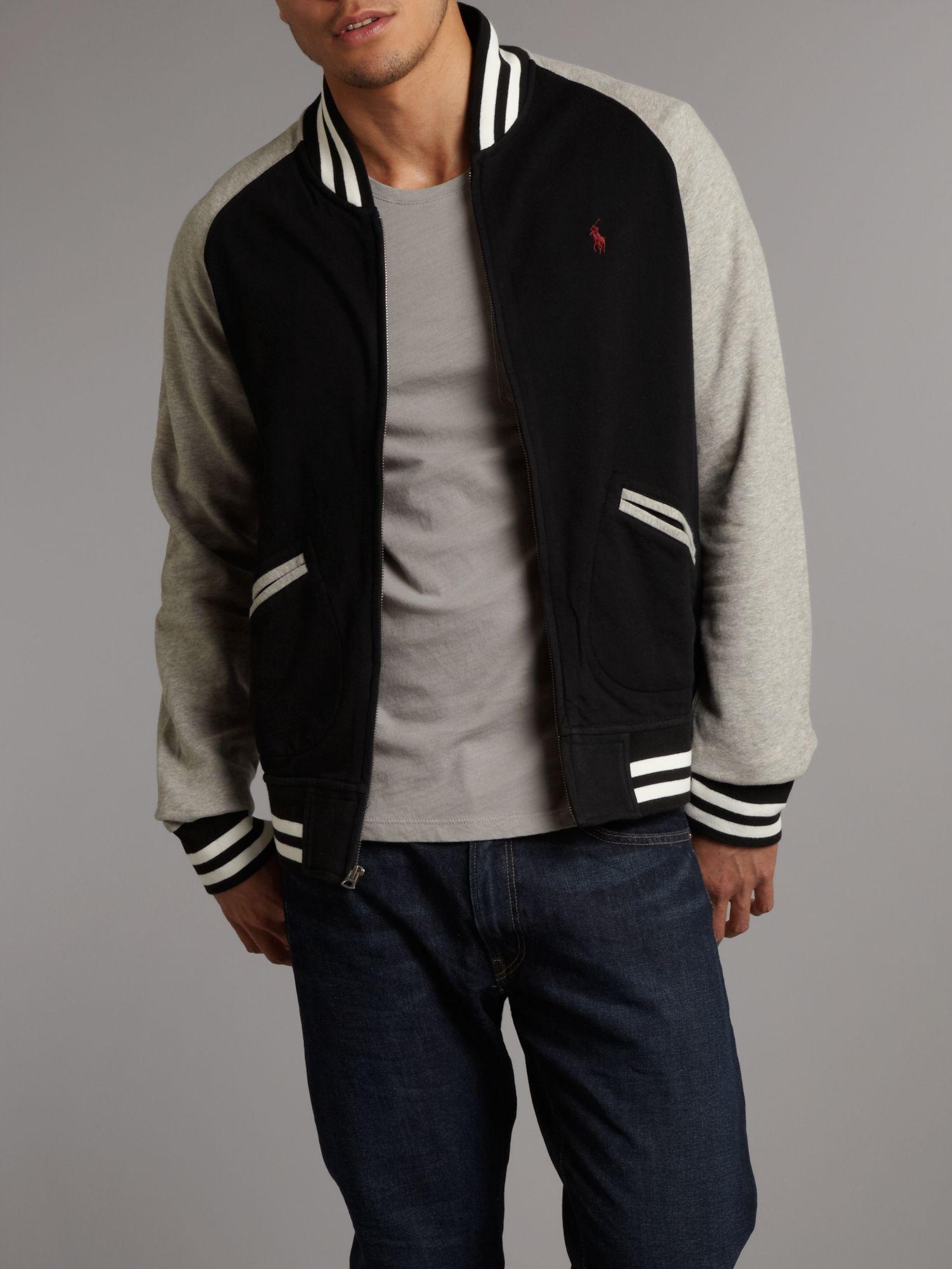 Polo ralph lauren Premier Fleece Baseball Jacket in Black for Men ...