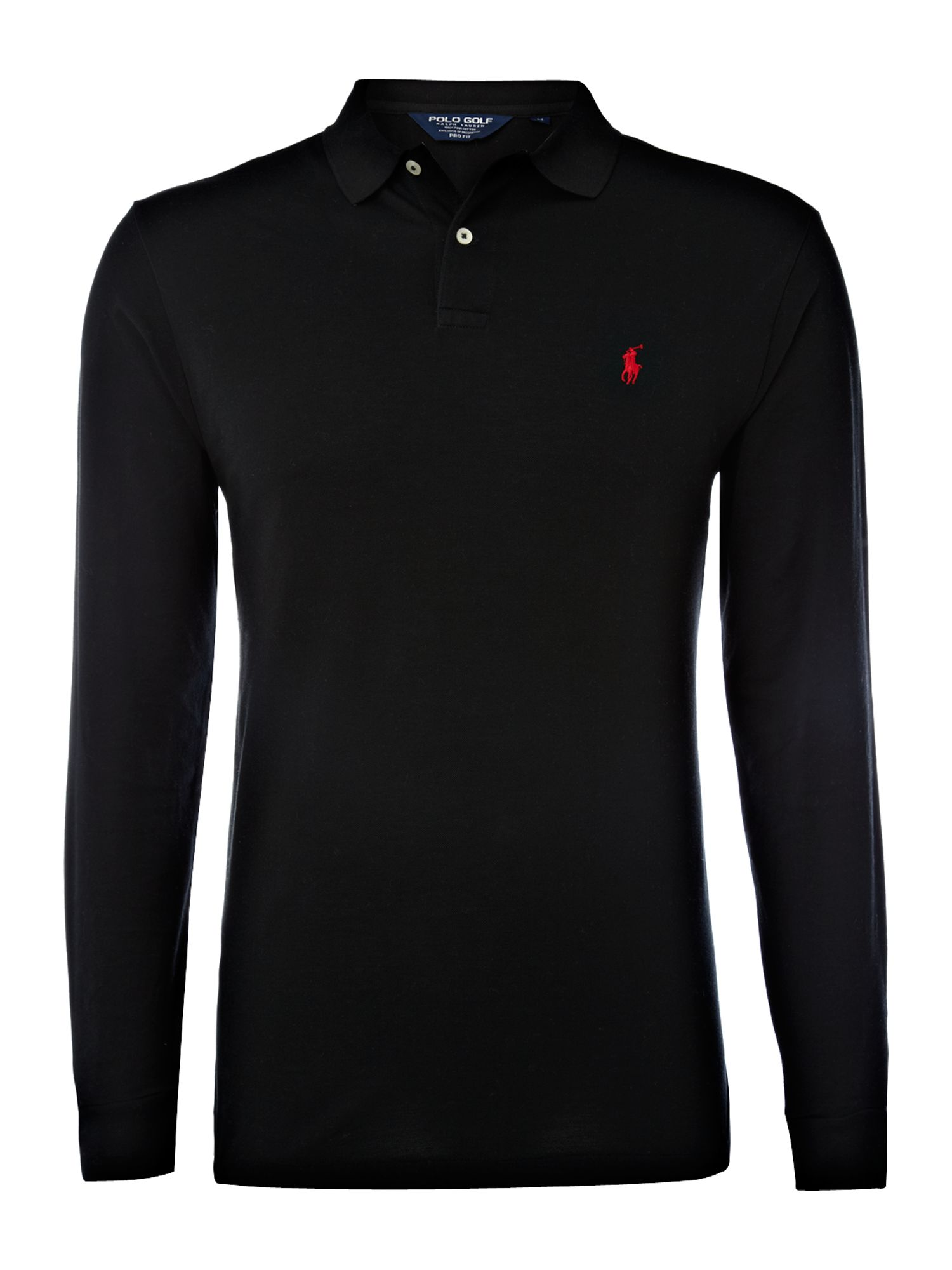 Ralph lauren golf long sleeve pro fit polo shirt in black for Black golf polo shirt