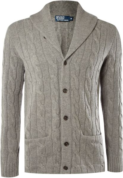 Polo Ralph Lauren Cable Knitted Cardigan in Gray for Men (grey)