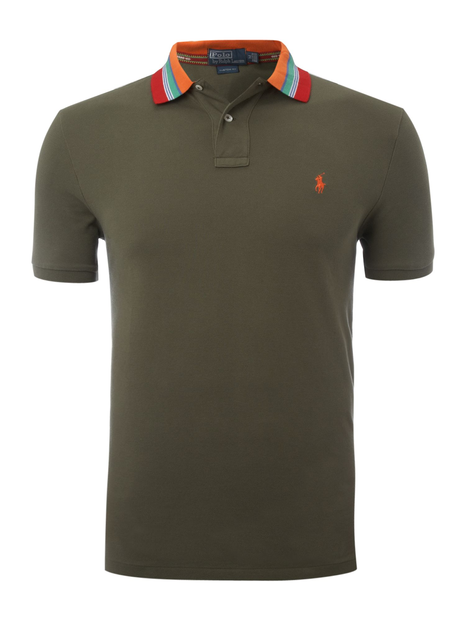 Polo Ralph Lauren Custom Fitted Striped Collar Polo Shirt