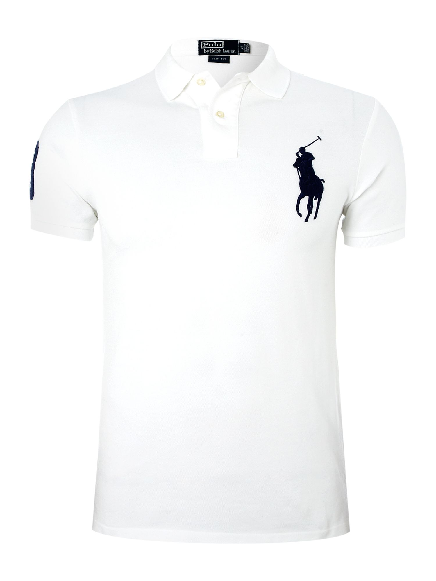 Polo ralph lauren slim fit big pony polo shirt in white for White fitted polo shirts
