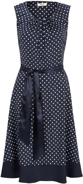 Precis Petite Navy Polka Dot Belted Dress In Blue Lyst