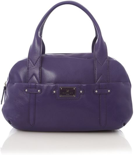 Radley Ealing Leather Small Bowling Bag in Purple