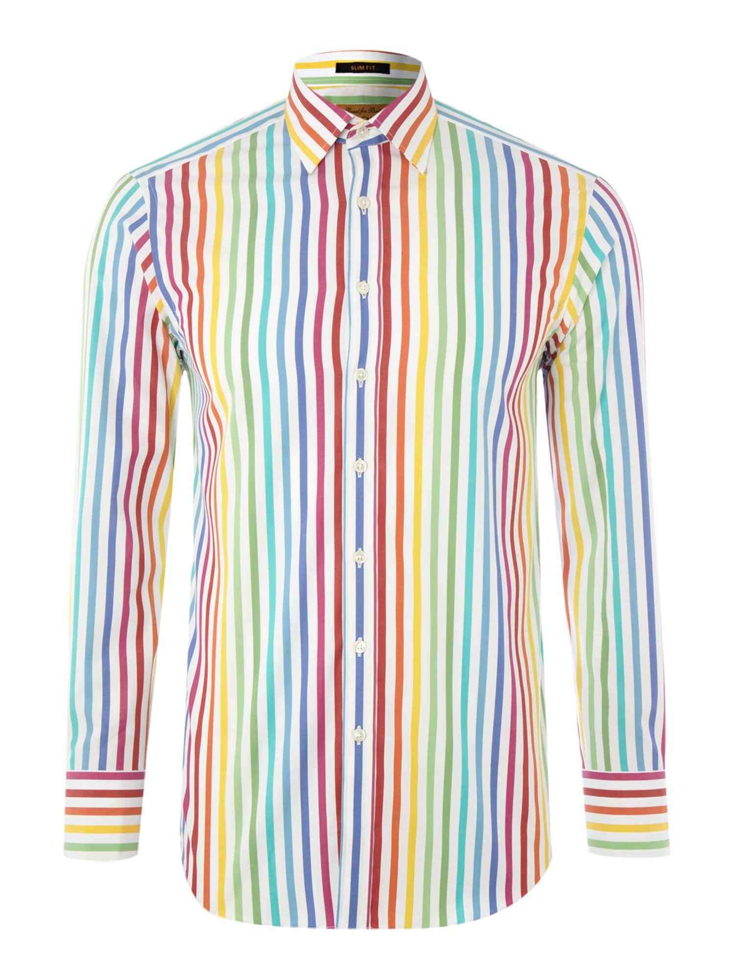 Simon Carter Long Sleeved Color Stripe Shirt In Multicolor