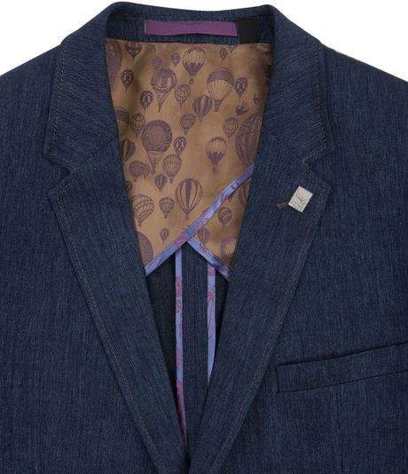 Ted Baker Shosho Linen Jacket With Elbow Patch Detail In
